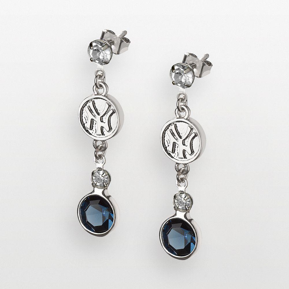 LogoArt New York Yankees Silver Tone Crystal Logo Linear Drop Earrings