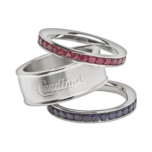 LogoArt St. Louis Cardinals Stainless Steel Crystal Stack Rings