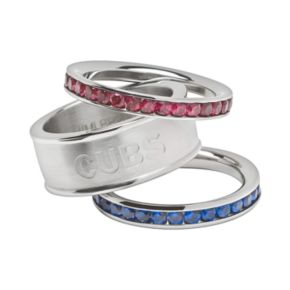 LogoArt Chicago Cubs Stainless Steel Crystal Stack Rings