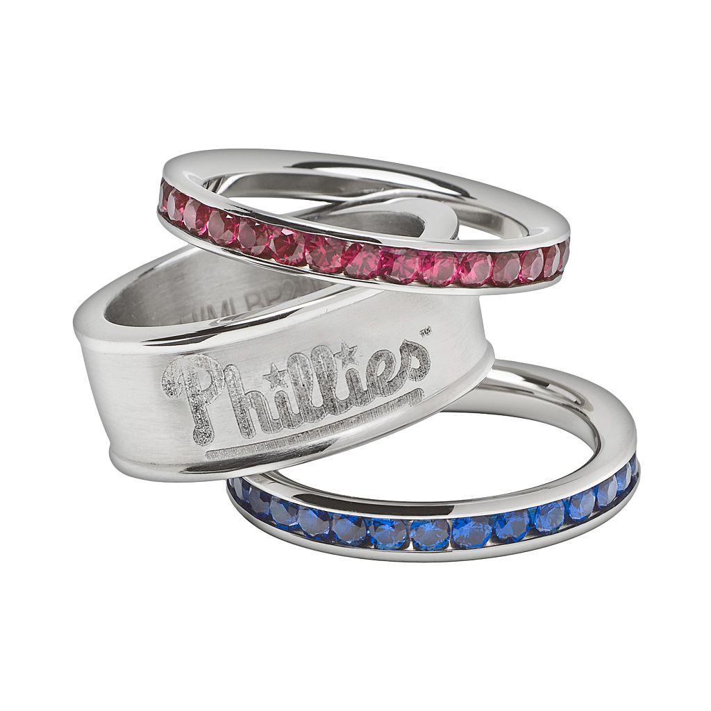 LogoArt Philadelphia Phillies Stainless Steel Crystal Stack Rings