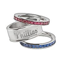 LogoArt Philadelphia Phillies Stainless Steel Crystal Stack Rings