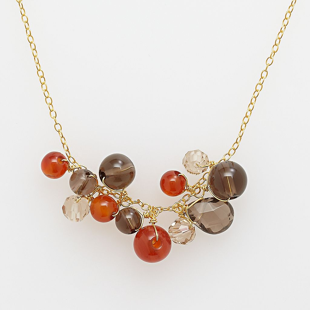 18k Yellow Gold Over Silver Smokey Quartz Necklace