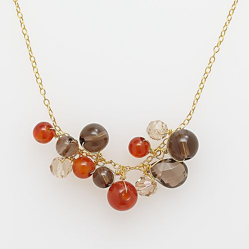 18k Yellow Gold Over Silver Smokey Quartz Necklace
