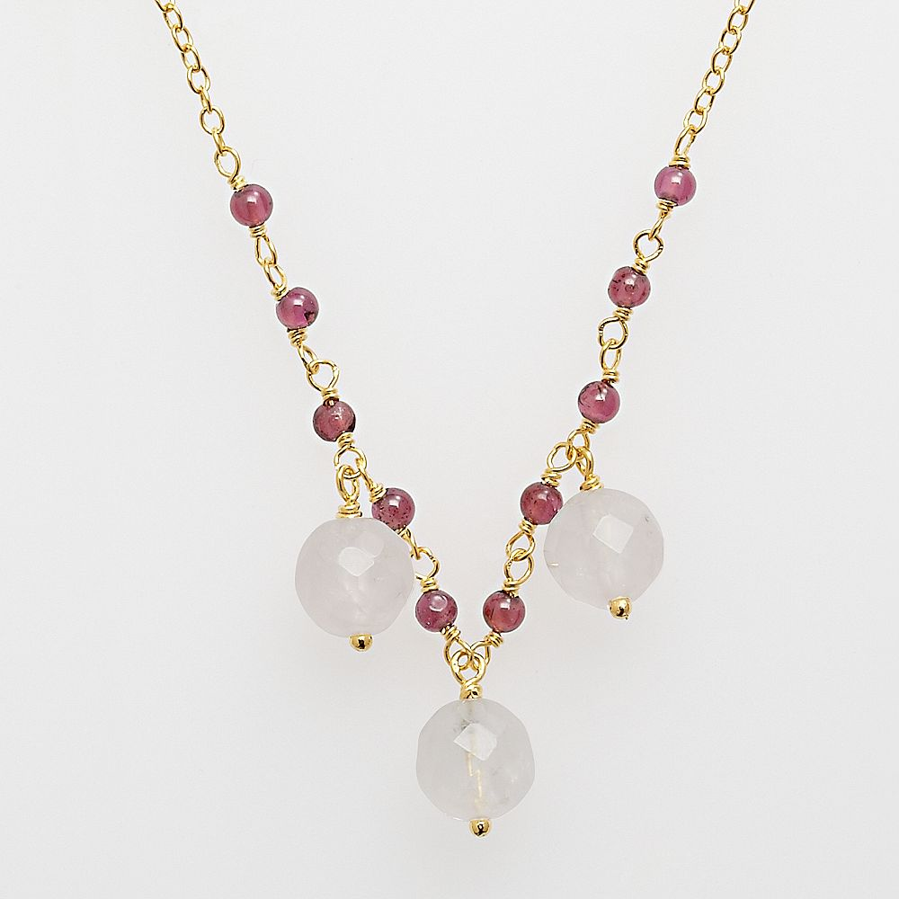 18k Yellow Gold Over Silver Rose Quartz & Garnet Necklace