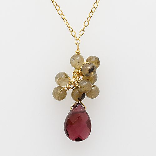 18k Yellow Gold Over Silver Rose Quartz & Garnet Necklace