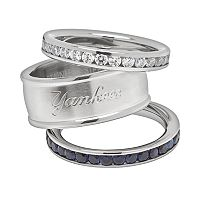 LogoArt New York Yankees Stainless Steel Crystal Stack Rings