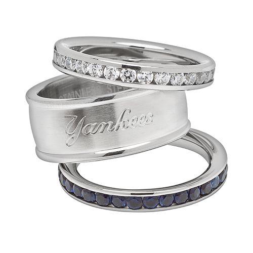 LogoArt New York Yankees Stainless Steel Crystal Stack Rings