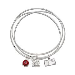 LogoArt St. Louis Cardinals Silver Tone Crystal Charm Bangle Bracelet Set