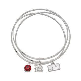 LogoArt St. Louis Cardinals Silver Tone Crystal Charm Bangle Bracelet Set