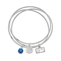 LogoArt Chicago Cubs Batterman Silver Tone Bangle Bracelet Set