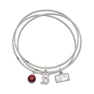 Boston Red Sox Silver Tone Crystal Charm Bangle Bracelet Set