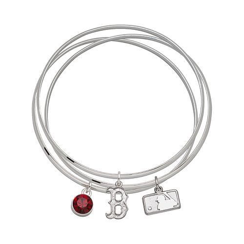 LogoArt Boston Red Sox Silver Tone Crystal Charm Bangle Bracelet Set