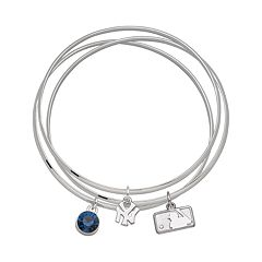 LogoArt New York Yankees Silver Tone Crystal Charm Bangle Bracelet Set