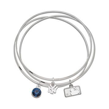 LogoArt New York Yankees Silver Tone Crystal Charm Bangle Bracelet Set