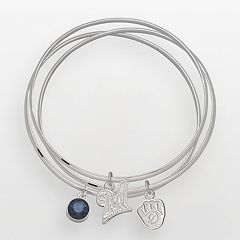 LogoArt Milwaukee Brewers Silver Tone Crystal Charm Bangle Bracelet Set