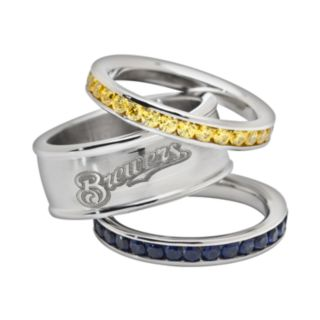 LogoArt Milwaukee Brewers Stainless Steel Crystal Stack Rings