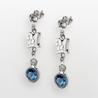 LogoArt Milwaukee Brewers Silver Tone Crystal Logo Linear Drop Earrings