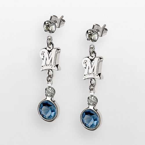 LogoArt Milwaukee Brewers Silver Tone Crystal Logo Linear Drop Earrings