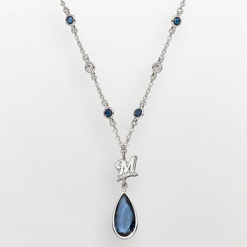 LogoArt Milwaukee Brewers Silver Tone Teardrop Crystal Y Necklace