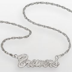 LogoArt Milwaukee Brewers Sterling Silver Script Necklace
