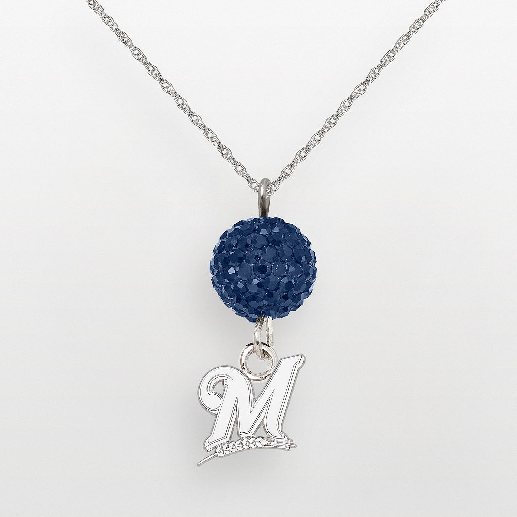 LogoArt Milwaukee Brewers Sterling Silver Crystal Logo Pendant