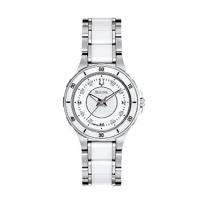 Bulova Stainless Steel and White Ceramic Diamond Accent Watch - 98P124 - Women