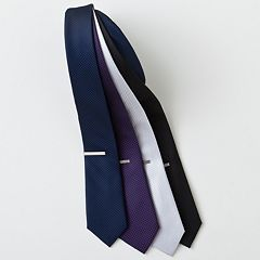Men's Apt. 9® Tipton Checked Skinny Tie with Tie Bar