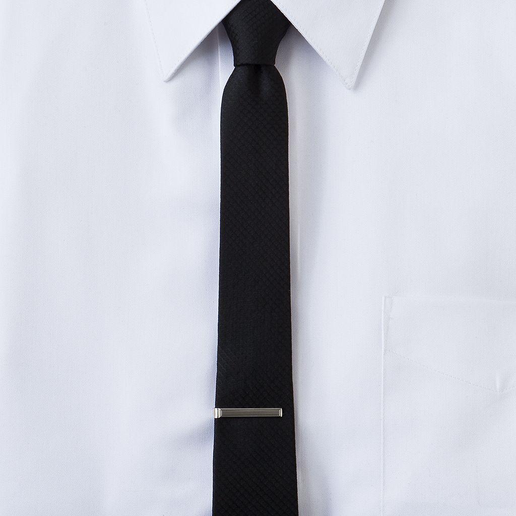 Apt. 9® Tipton Checked Skinny Tie with Tie Bar