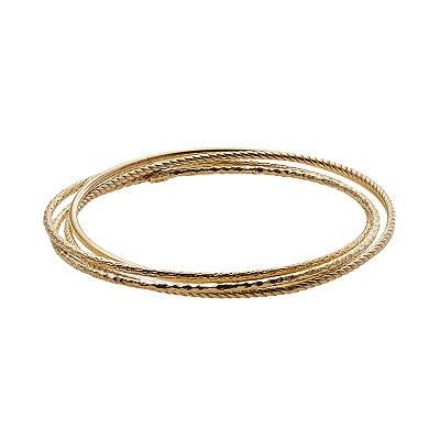 18k Gold Over Silver Textured Bangle Bracelet