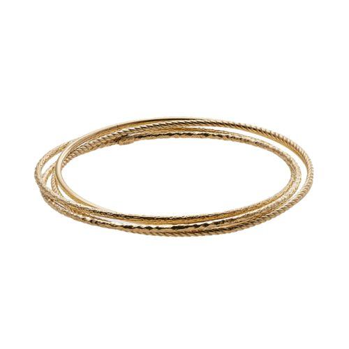 18k Gold Over Silver Textured Bangle Bracelet