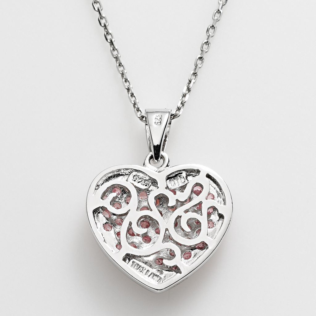 Sterling Silver Cubic Zirconia Heart Pendant