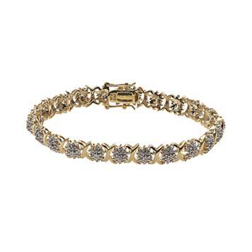 18k Gold Over Silver 1-ct. T.W. Diamond Cluster X Bracelet