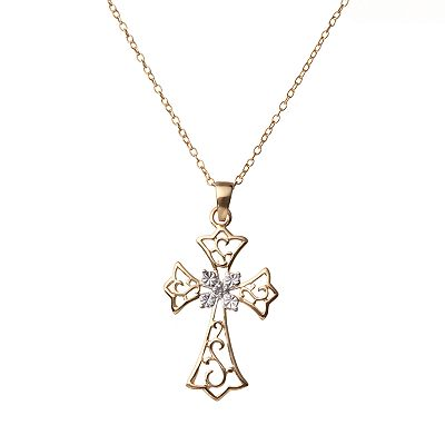 18k Gold Over Silver and Sterling Silver Diamond Accent Openwork Cross Pendant - Kids