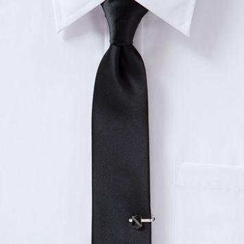 Apt. 9® Satin Solid Skinny Tie with Shield