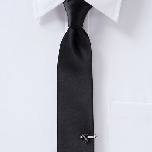 Men's Apt. 9® Satin Solid Skinny Tie with Shield Tie Chain