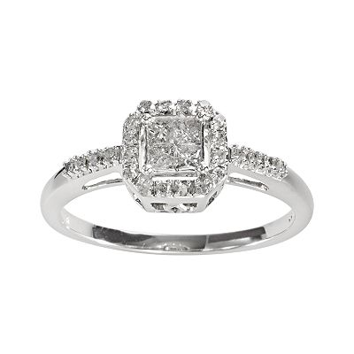 10k White Gold 1/4-ct. T.W. Princess-Cut Diamond Square Frame Ring