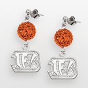 Cincinnati Bengals Sterling Silver Crystal Linear Drop Earrings