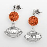 Cleveland Browns Sterling Silver Crystal Linear Drop Earrings