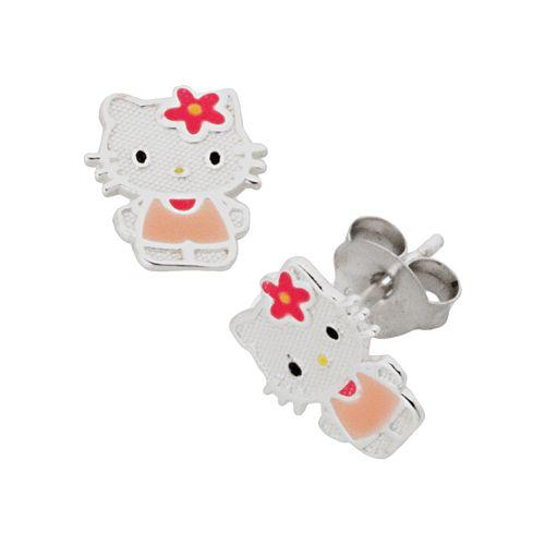 Hello Kitty® Sterling Silver Stud Earrings - Kids