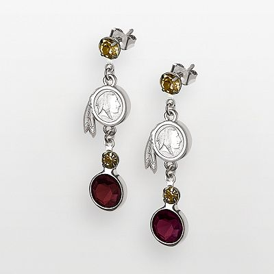 Washington Redskins Silver Tone Crystal Logo Linear Drop Earrings