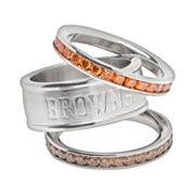 Cleveland Browns Stainless Steel Crystal Stack Ring Set