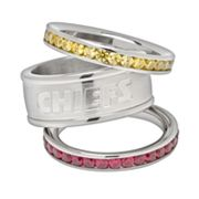 Kansas City Chiefs Stainless Steel Crystal Stack Ring Set