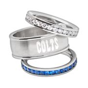 Indianapolis Colts Stainless Steel Crystal Stack Ring Set