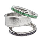 Seattle Seahawks Stainless Steel Crystal Stack Ring Set