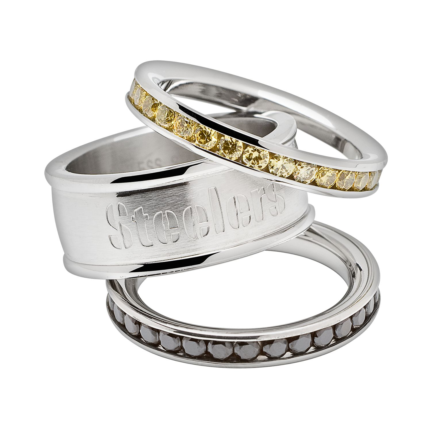 Sale Pittsburgh Steelers Stainless Steel Crystal Stack Ring Set