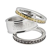 Pittsburgh Steelers Stainless Steel Crystal Stack Ring Set