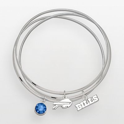 Buffalo Bills Silver Tone Crystal Charm Bangle Bracelet Set