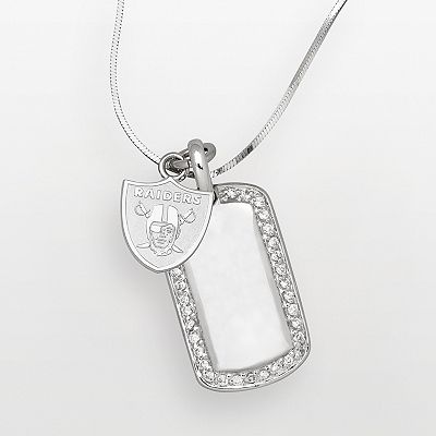 Oakland Raiders Sterling Silver Cubic Zirconia Dog Tag Pendant