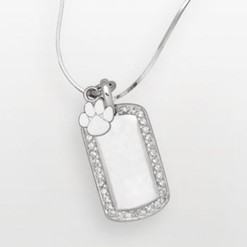 Clemson Tigers Sterling Silver Cubic Zirconia Dog Tag Pendant