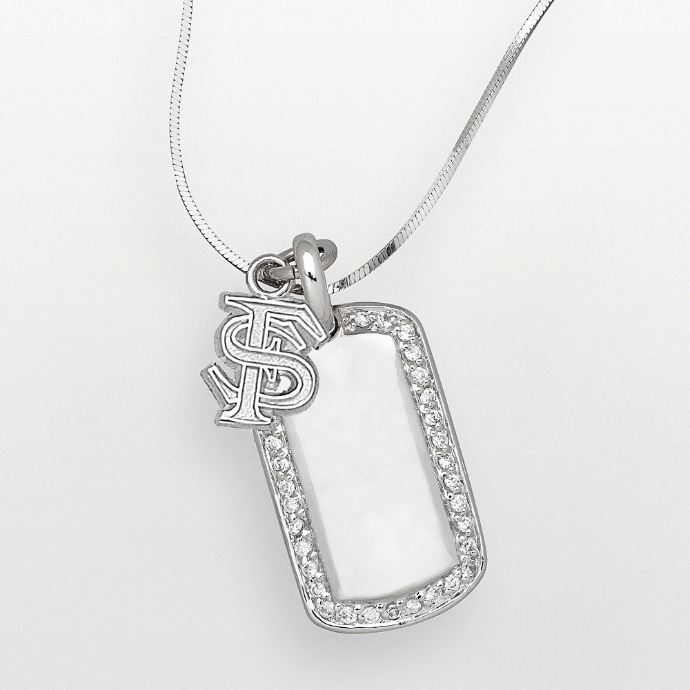 Florida State Seminoles Sterling Silver Cubic Zirconia Dog Tag Pendant